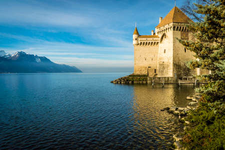 Chillon castle at dawn in the winter with trees in the foreground and mountains in the background