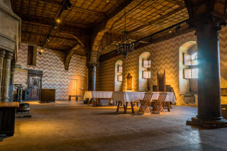Large dining room of the Chillon castle in Switzerland