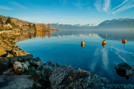 Lutry harbor and Geneva lake in Switzerland Stock Photo