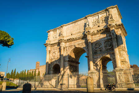Arch of Constantine in Rome on a bright sunny morning