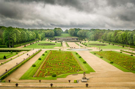 French style gardens in Vaux-le-vicomte castle in France