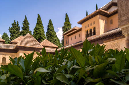 Geometrical shapes of the roofs of the Alhambra in Granada in Spain