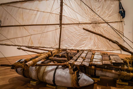 Old aboriginal pirogue canoe made of wood in Australia