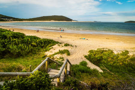 Port Stephens beaches and view of the ocean in New South Wales, Australia Stock Photo