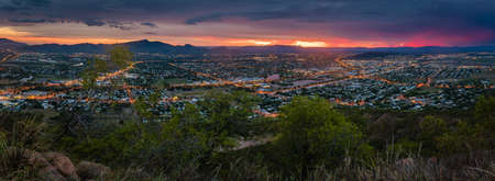 Panorama of stunning sunset over Townsville, Queensland, Australia Фото со стока