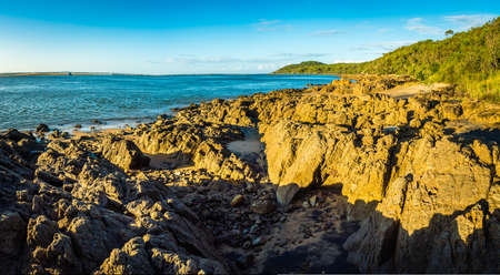 Panorama of the coast and ocean in seventeen seventy in Australia