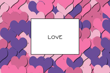 LOVE text on a colorful heart background