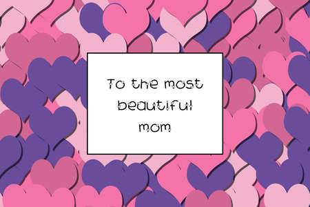 To the most beautiful mom text on a colorful heart background Stock Photo