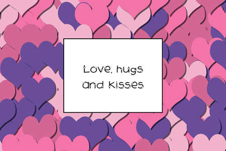 Love, hugs and kisses text on a colorful heart background Stock Photo