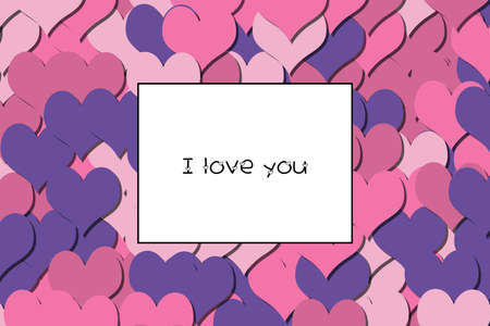 I love you text on a colorful heart background