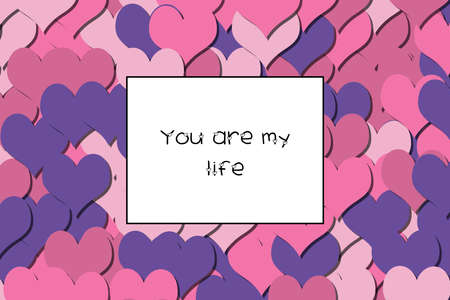 You are my life text on a colorful heart background