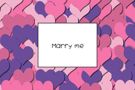 Marry me text on a colorful heart background