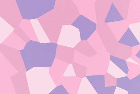 Pink mosaic of abstract geometrical shapes with Cameo Pink, Dark Lavender, Cyclamen, Pale Red-Violet colors, watercolor paper texture Stock Photo