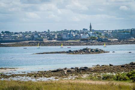 Roscoff town seen from Batz island in Bretagne