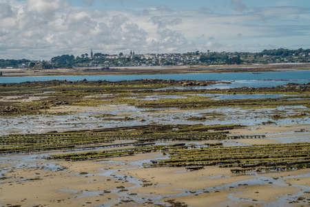 Low tide oyster parks in Bretagne in France Stok Fotoğraf