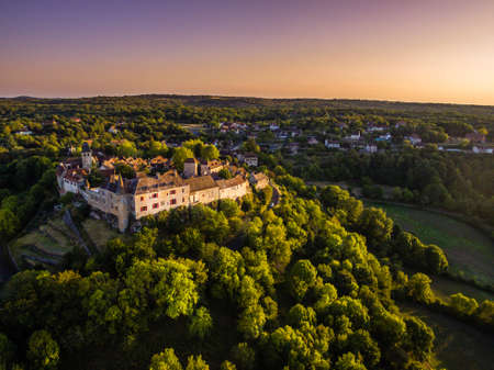 Loubressac village drone view at sunset in France
