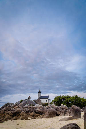 Beautiful Pontusval lighthouse in Bretagne in France Archivio Fotografico