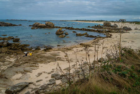 Meneham coast and beach in Brittany region in France
