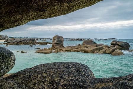 Meneham rocky granite coast in Bretagne in France
