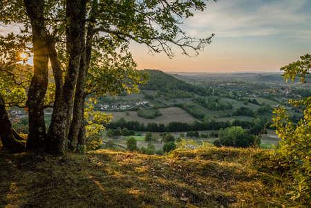 Saint Cere and Bretenoux valley in the summer, Lot Archivio Fotografico