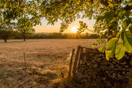 Causses du Quercy at sunset in Occitanie, France