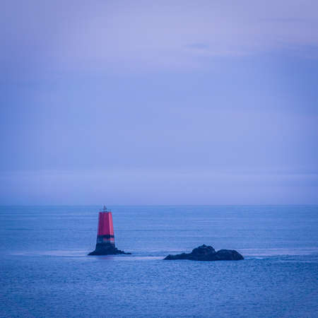 Navigation landmark for boats in the ocean in Brittany in France