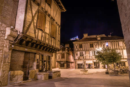 Mercadial square in Saint Cere in France at night
