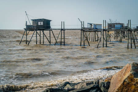 Fishing pier in Loire Atlantique region in France Archivio Fotografico