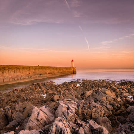 Audiernes lighthouse in the sunset in the summer in Brittany Archivio Fotografico