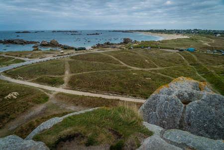 Meneham landscape in Bretagne in France in the summer