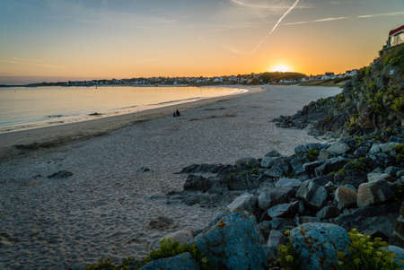 Sunset over Audiernes in Bretagne in France