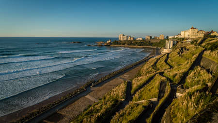 Biarritz beach and waves in fall during sunset Archivio Fotografico