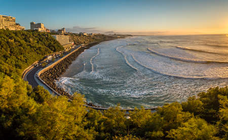 Panorama of Cote des basques in Biarritz at sunset