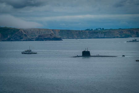 French submarine in the Brest rade in Brittany in France