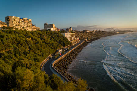 Cote des basques at sunset in Biarritz, France