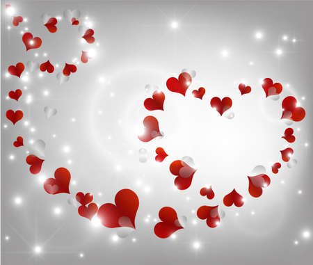 background with beautiful red and gray hearts
