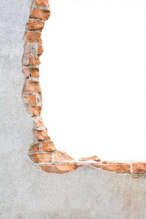 Concrete wall with broken tiles