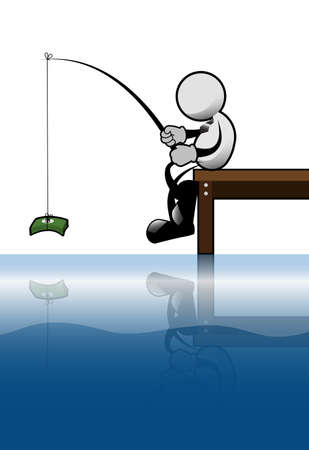 Businessman fishing by money at waterfront  Vector