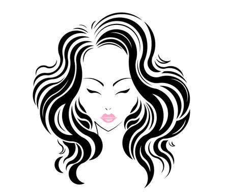 Long hair style icon Stock Illustratie
