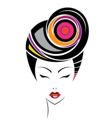 Short hair style icon, women face on white background. Vector