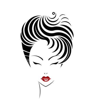 beaut� esthetique: Court ic�ne de style de cheveux, les femmes font face sur fond blanc, vecteur