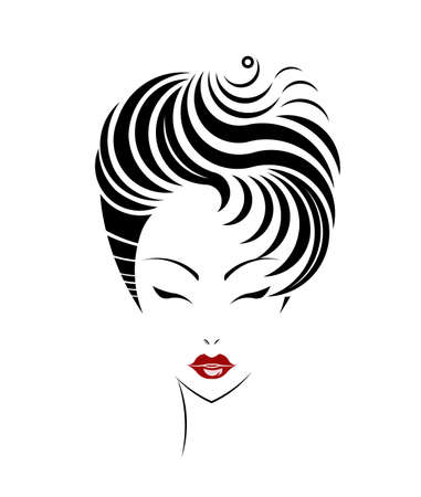 girl short hair: Short hair style icon, women face on white background, vector Illustration