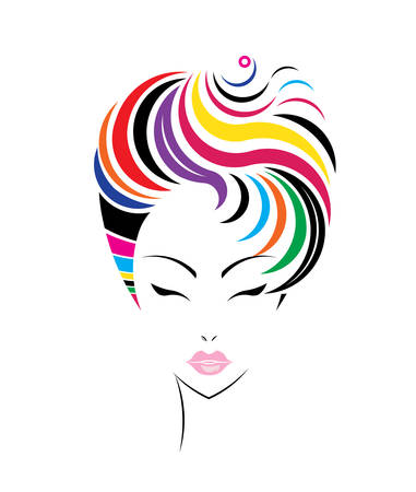 Short hair style icon, women face on white background, vector Vector