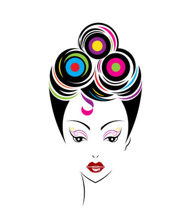 Short hair style icon, women face on white background, vector 일러스트