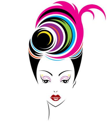 girl short hair: Short hair style icon,   women face on white background, vector