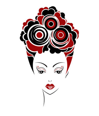 short hair: Short hair style icon,   women face on white background, vector