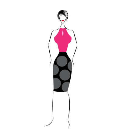 sexy dress: Vector illustration of fashion girls in an sexy dress Stock Photo