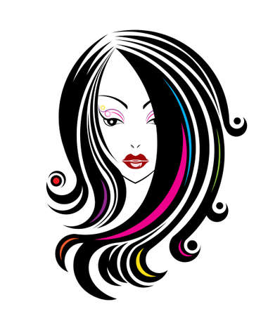 long black hair: Long hair style icon, logo women face on white background, vector Stock Photo
