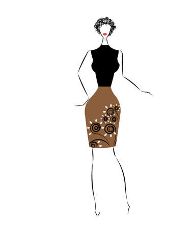 elegant dress: Vector illustration of fashion girls in an elegant dress Stock Photo