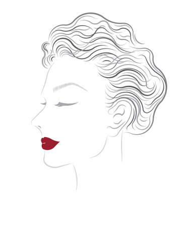 short wave: vector beautiful women hairstyles on white background Stock Photo